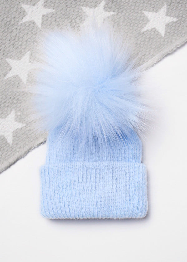 Soft Blue Turn Up First Size Pom Hat - Berry & Blossoms
