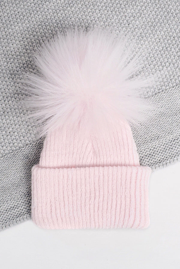 Soft Pink Turn Up First Size Pom Hat - Berry & Blossoms
