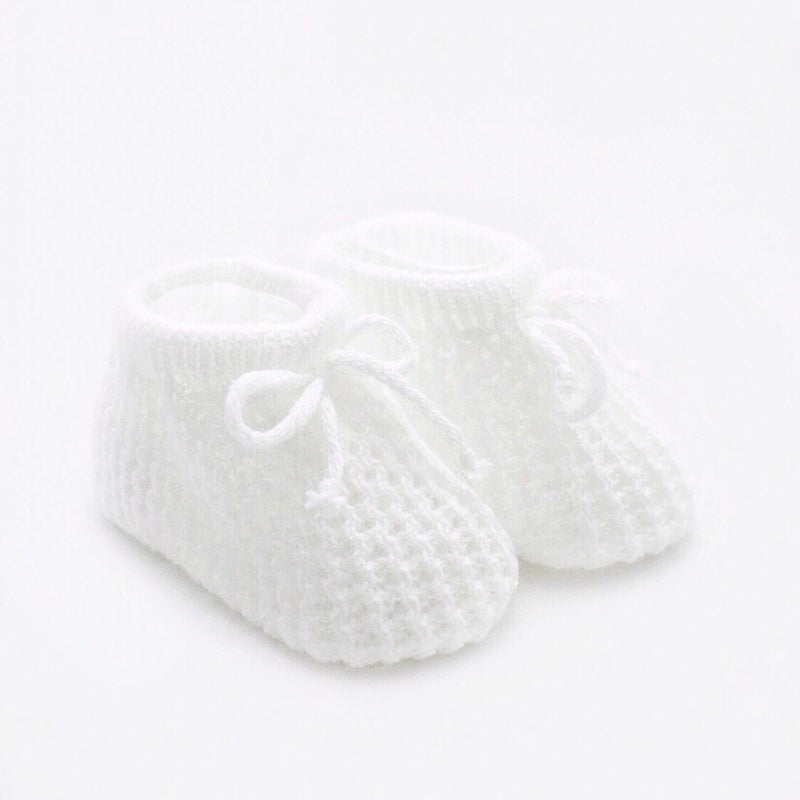 Knitted Laced Booties - White - Berry & Blossoms