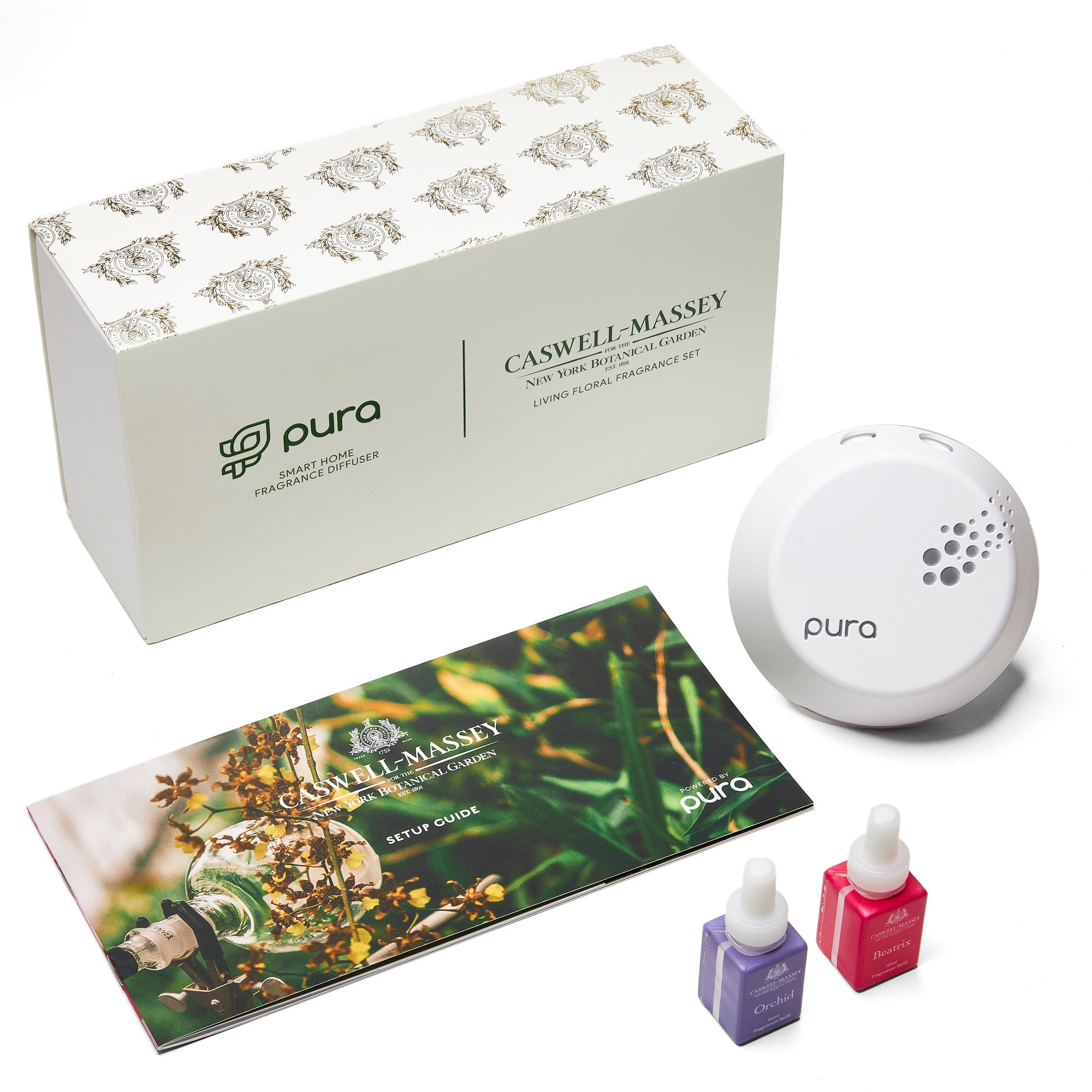 PURA Smart Diffuser Set featuring NYBG Fragrances Beatrix Rose & Orchid