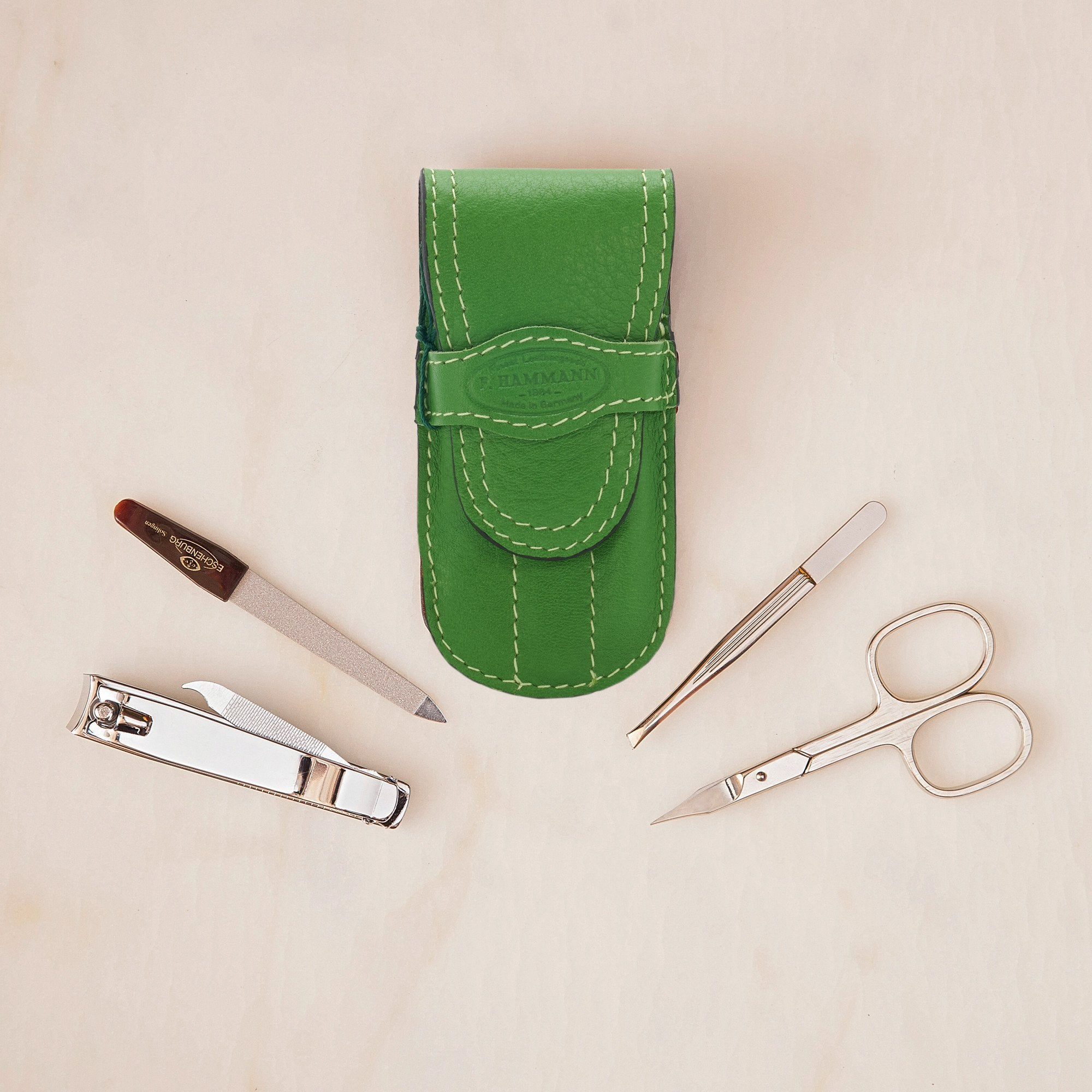 F. Hamman Manicure Kit in Green Leather