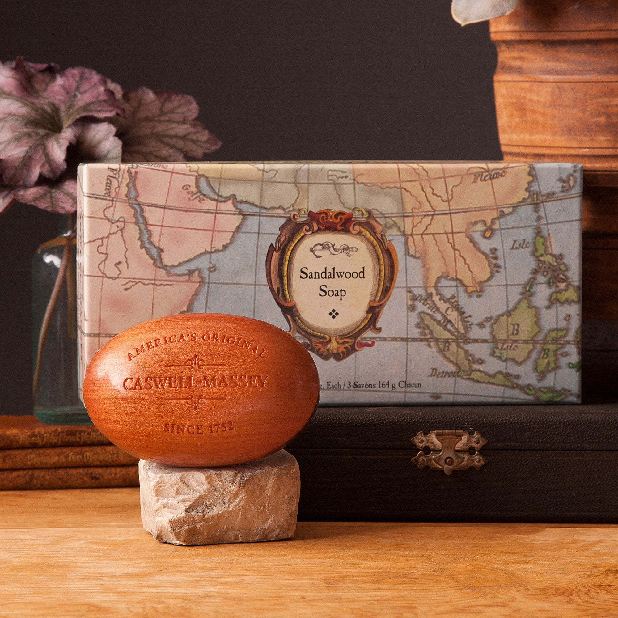 Sandalwood Woodgrain Three-Bar Soap Set