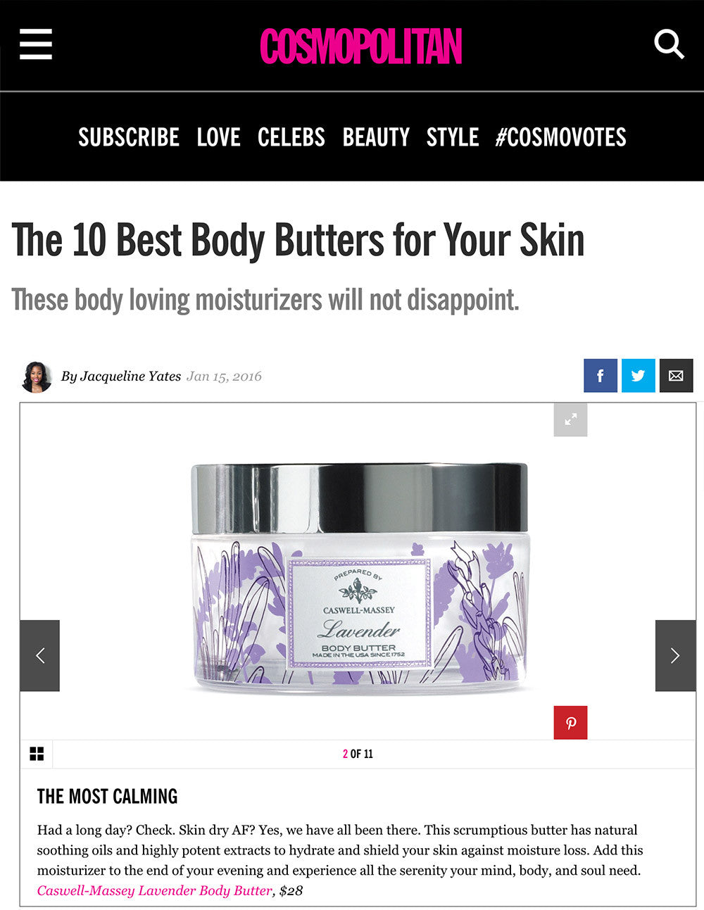 Lavender Body Butter featured in Cosmopolitan