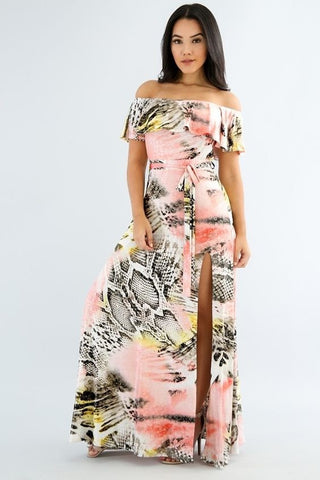 Off-The-Shoulder Multi-Color Print Maxi Dress