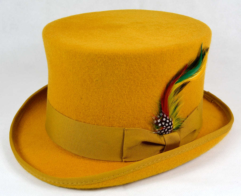 66a39780312 Mustard Yellow Felt Top Hat 100% Wool Hand Made – hats4u.eu