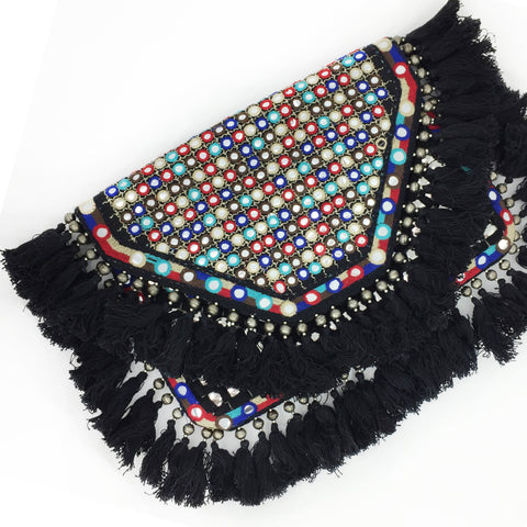 Coin Beaded Clutch - Black D