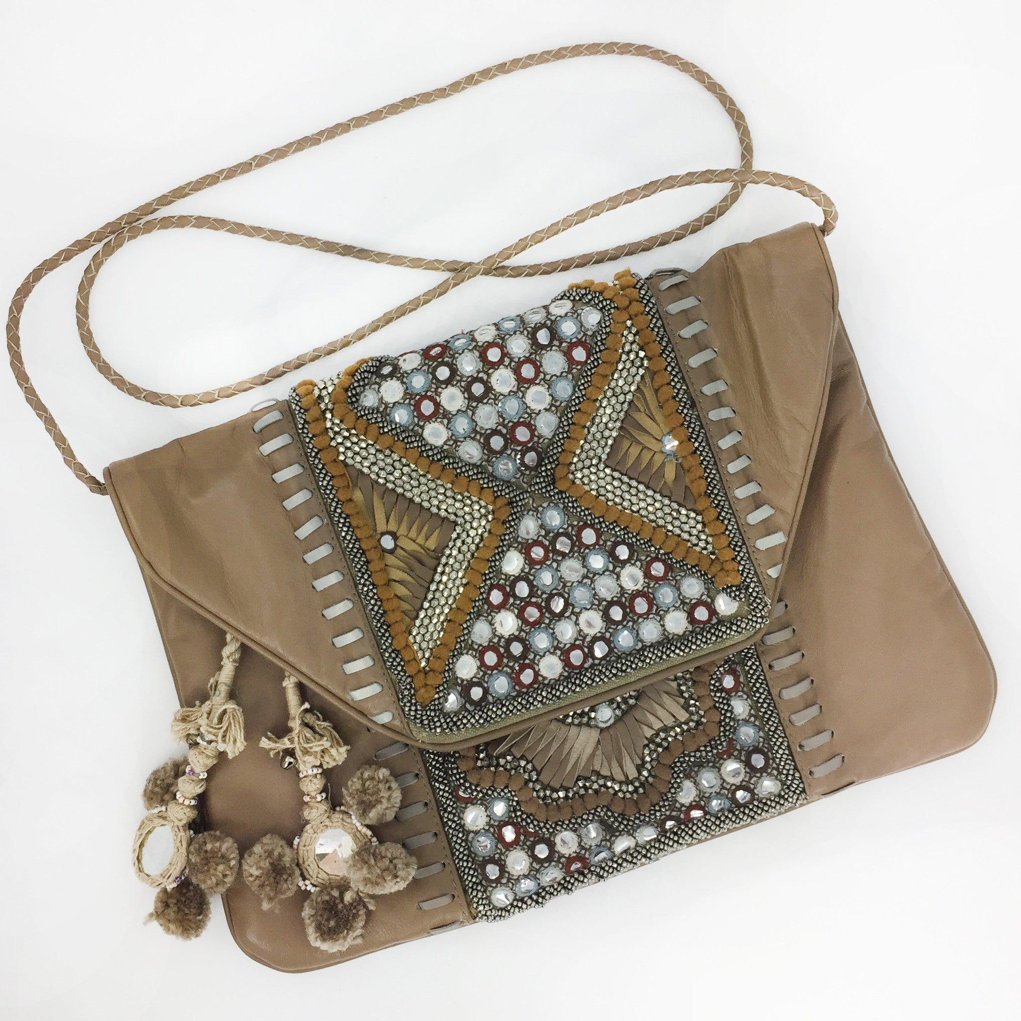 Desi Leather Clutch - Beige