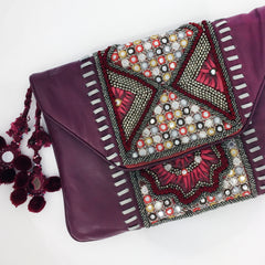 Desi Leather Clutch - Red