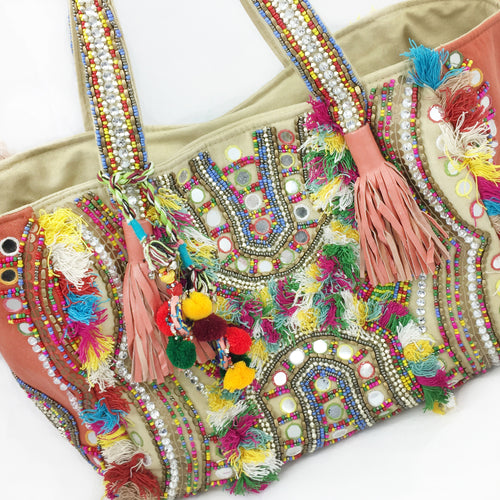 Desi Beaded Tote - Coral