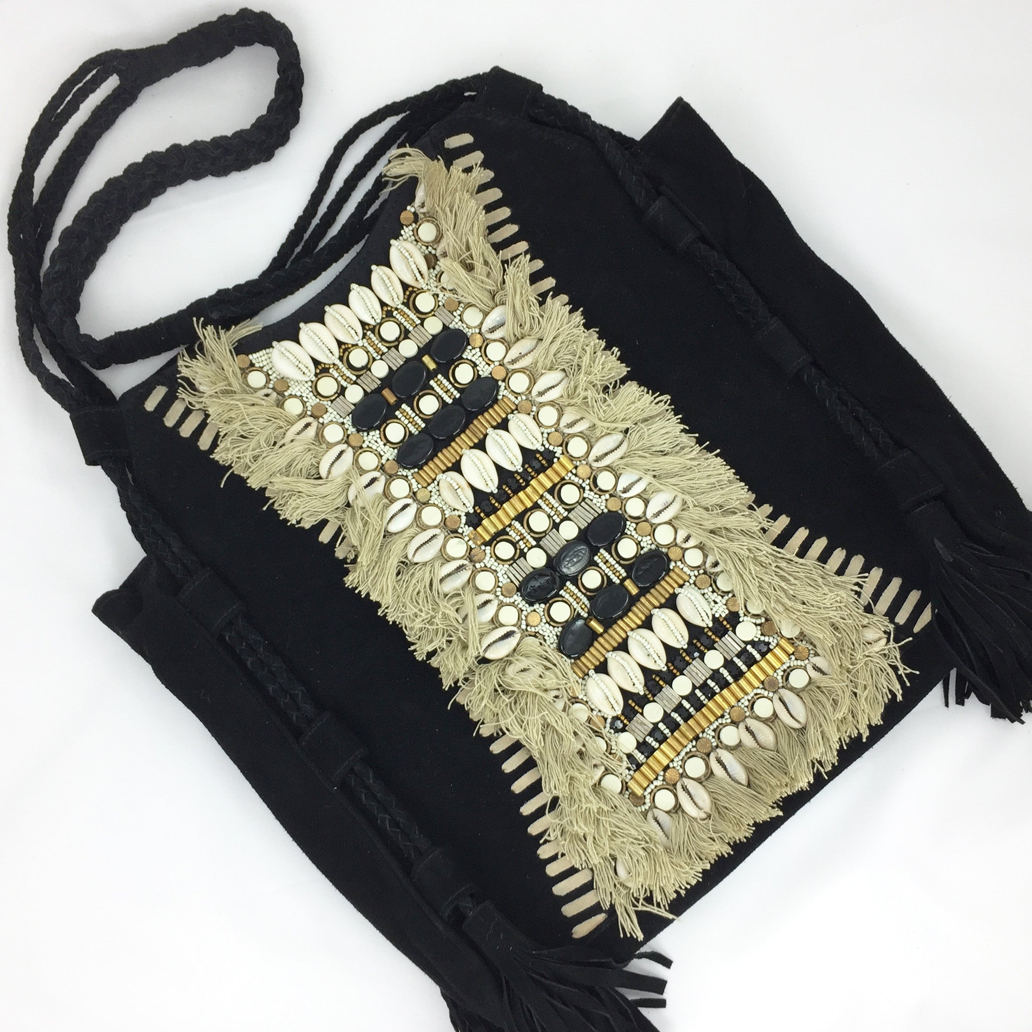 Suede Beaded Handbag - Black