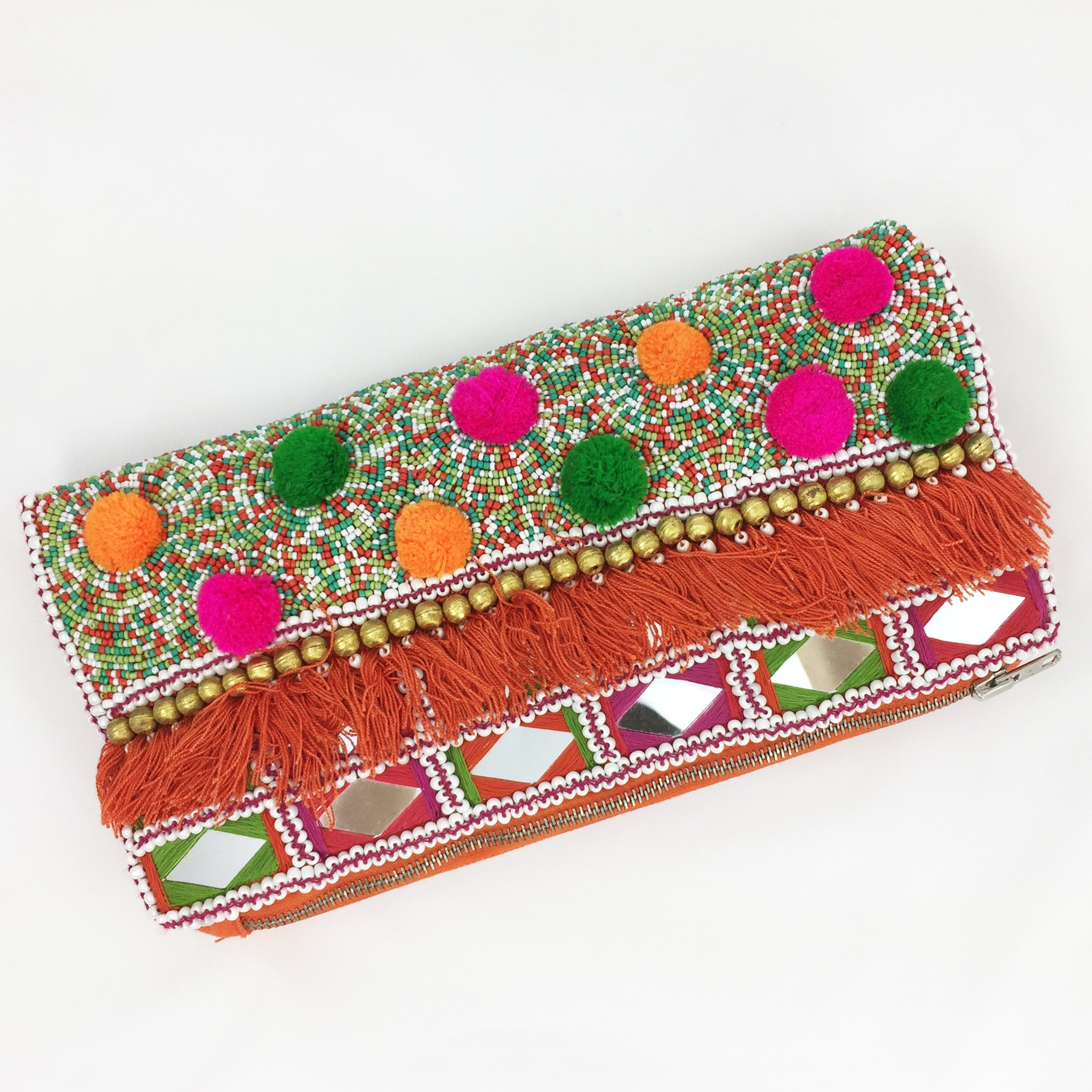 Beaded Envelop Clutch - Coral