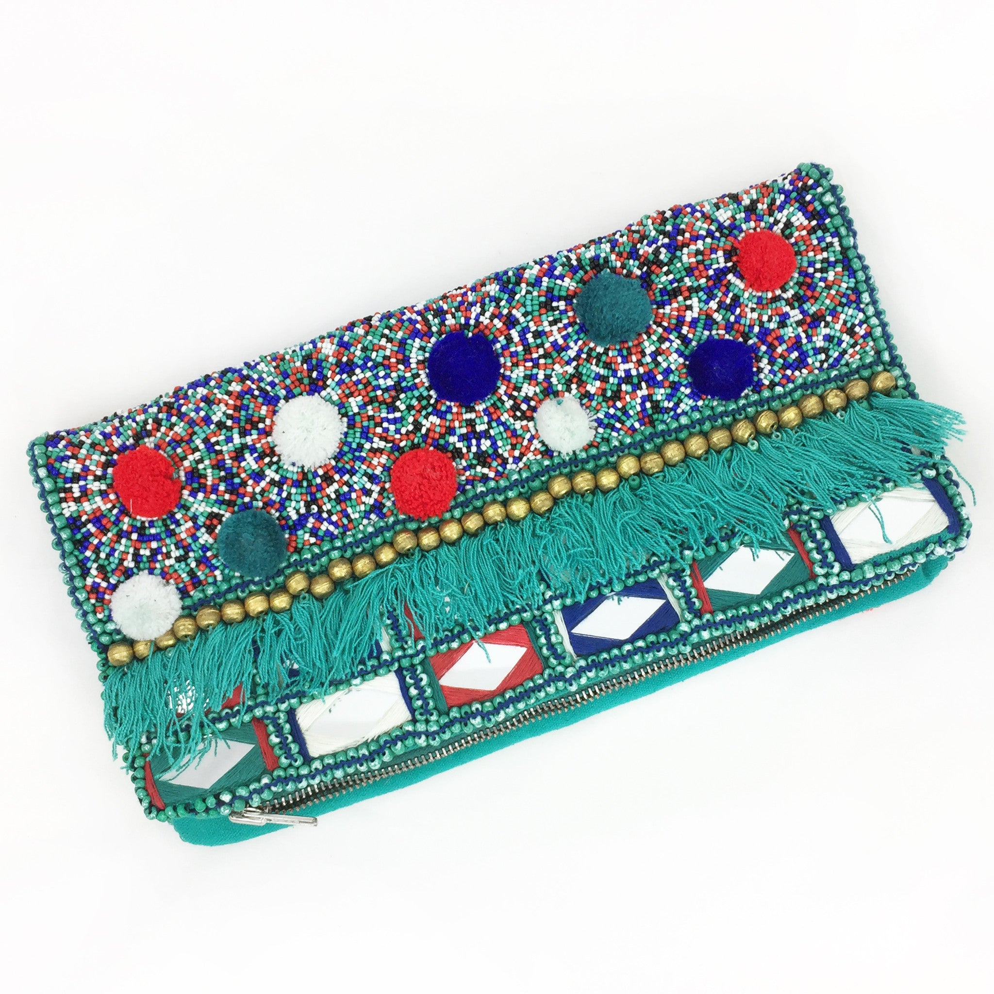 Beaded Envelop Clutch - Turquoise