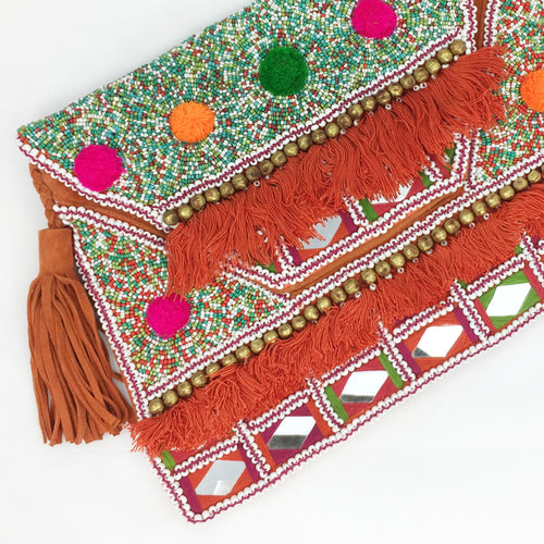 Beaded Clutch - Coral