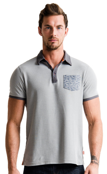 CHATHAM POLO - GRAVEL HEATHER