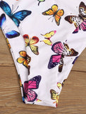 Butterfly Print V Wired Underwire Bikini Swimsuit