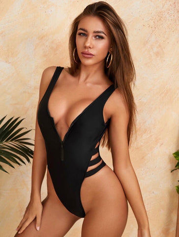 Cut - out Zip Front High Leg One piece Swimsuit
