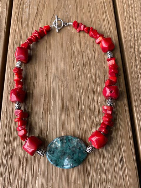 Red Coral & Tibetan Turquoise Necklace