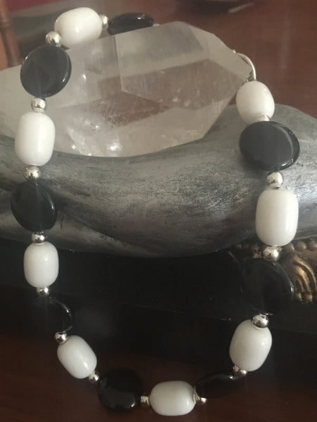Black Onyx-Milky Quartz Necklace
