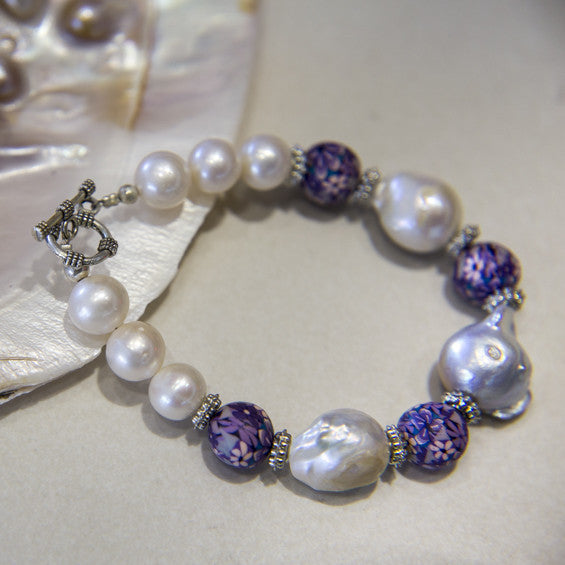 Cultured Baroque Pearls with Local Hand-Painted Purple Bead Bracelet