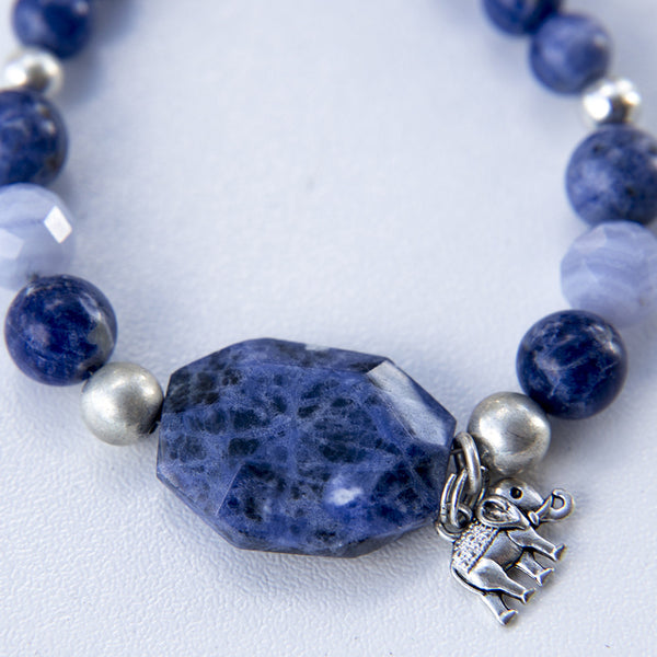 Sodolite and Blue Lace Agate Bracelet with a Silver Elephant with his Trunk up for Abundance