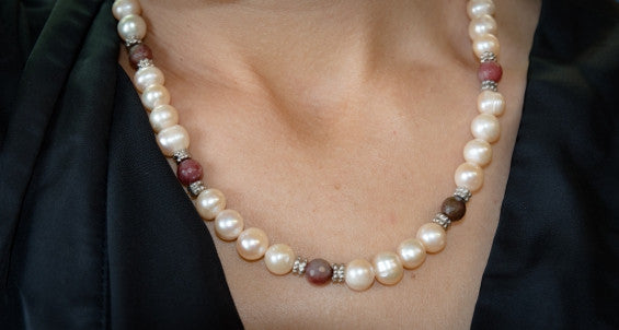 Pink Cultured Pearls together with Pink Tourmaline Crystal Necklace with Matching Earings
