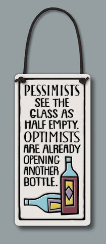 Spooner Creek Wine Tag - Pessimists/Optimists