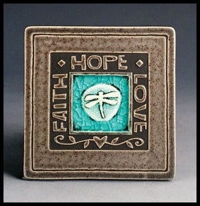 Macone Clay Coaster - Faith/Hope/Love