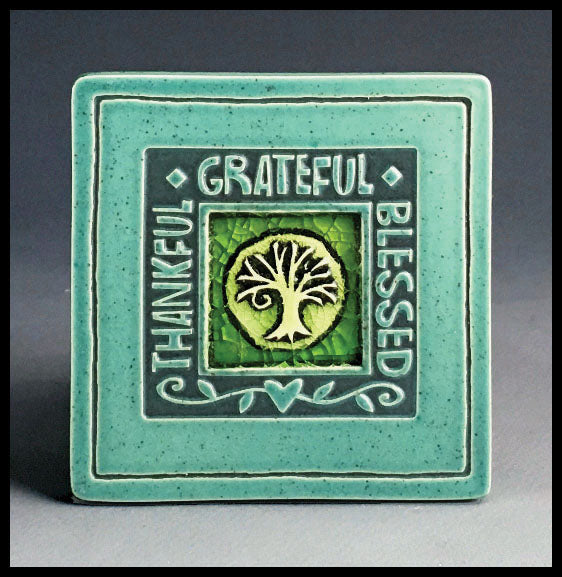 Macone Clay Coaster - Thankful/Grateful/Blessed