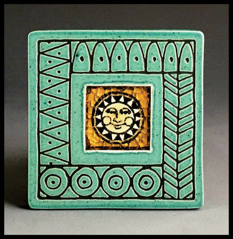 Macone Clay Coaster - Sun W/Design