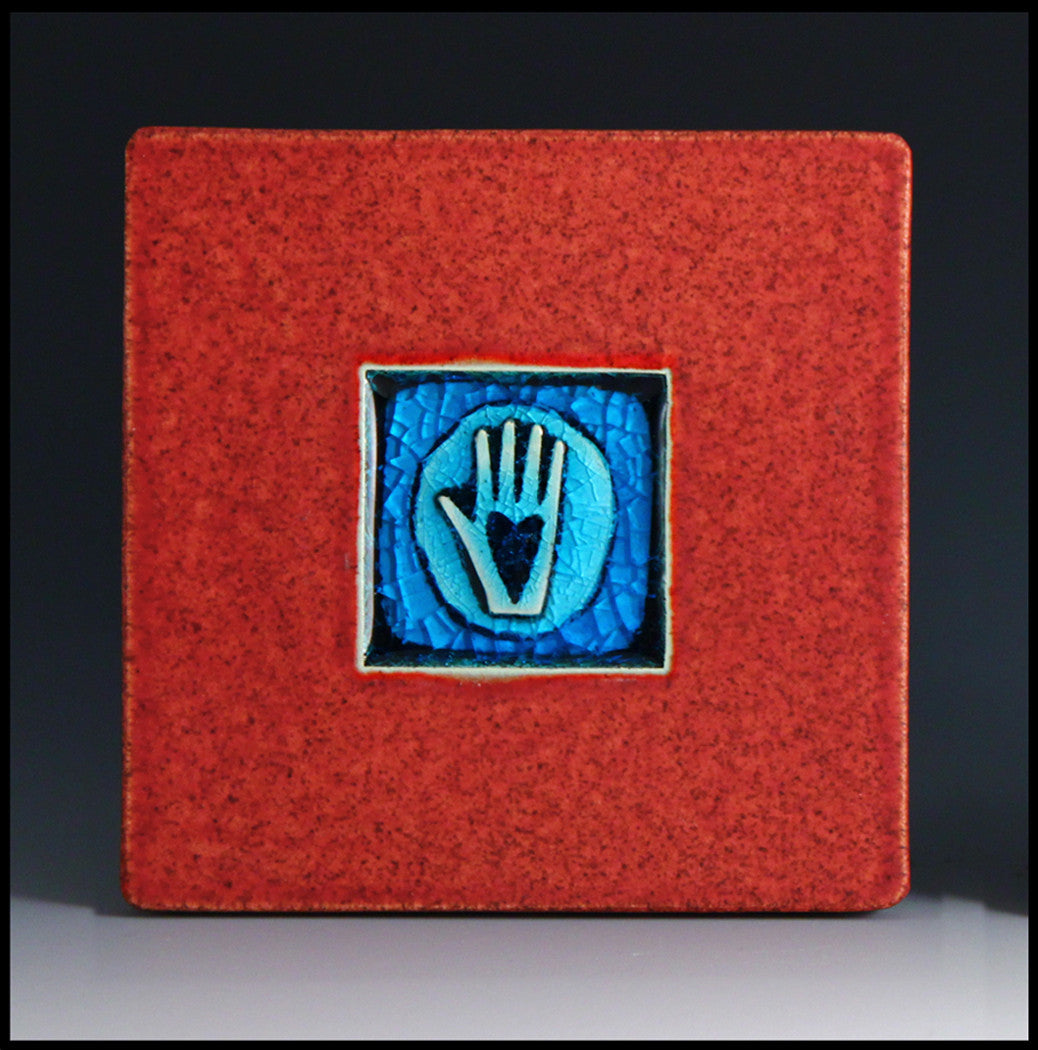 Macone Clay Coaster - Hand with Heart