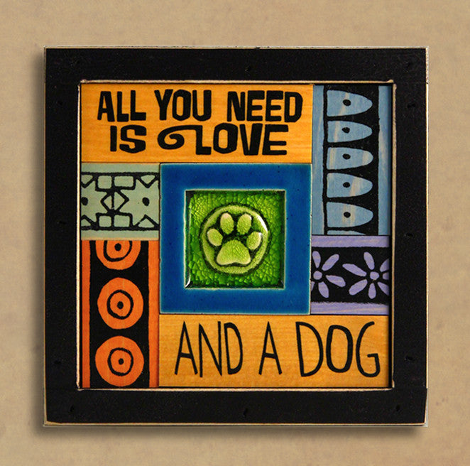 Macone Clay Collage Art - Love & Dog