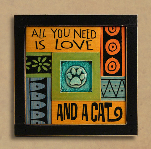 Macone Clay Collage Art - Love & a Cat