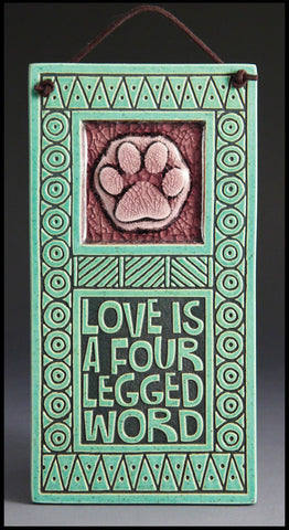 Macone Clay Tile with Glass - Four Legged Word