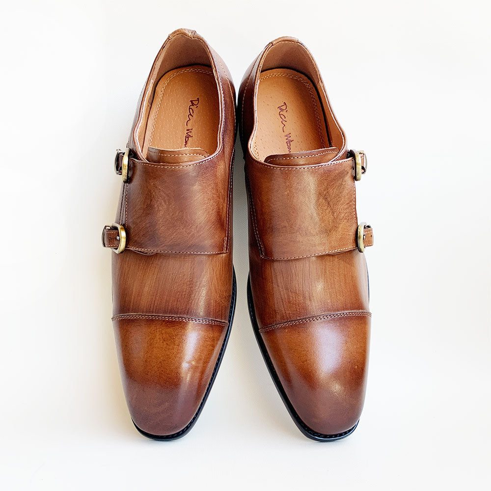 Rich Mbariket Mens Genuine Leather Double Monk Strap Shoes