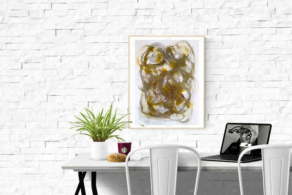 "Original Drawing Black Sepia Yellow White Making More Waves, Original Drawing Ink Brushstrock on Watercolor Paper 18""x24"" - RegiaArt"