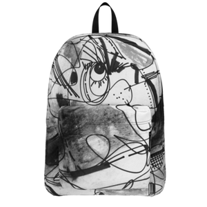 BLACK WHITE REGIAART FIGURE BACKPACK, The Eye on The Back