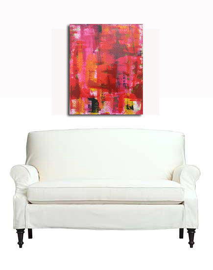 Red Original Painting Abstraction Contemporary Modern