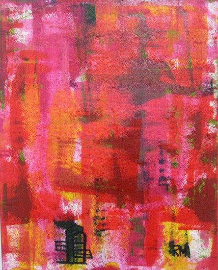 red original abstract painting on canvas