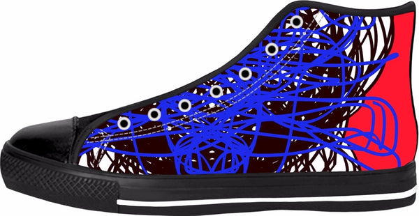 RegiaArt Red Blue Black High Tops Colorful Shoes Sneaker