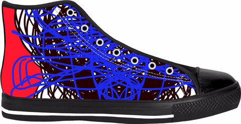 RegiaArt Black High Tops Colorful Shoes Sneaker