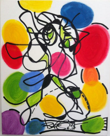 Party Time, Contemporary Original Painting Abstract Colors RegiaArt