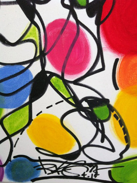 Original Painting Contemporary Abstract Colorful Modern Decor, Party Time - RegiaArt