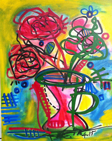 Original Painting Flowers Vase Contemporary Abstract Art Colors Modern Home Decor