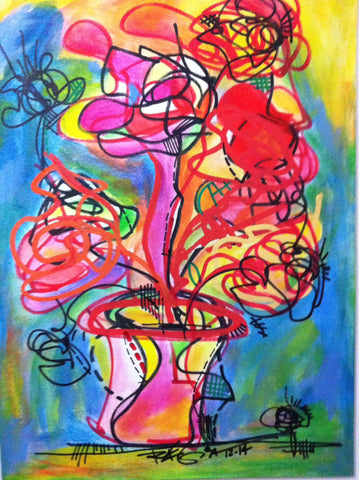 Original Painting Flowers Vase - Abstract Art Painting on Canvas R Marinho. Colorful Decor Size: 19x27 inches