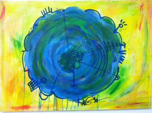 Original Painting Contemporary Abstract Modern Flat Blue Yellow Flower - RegiaArt