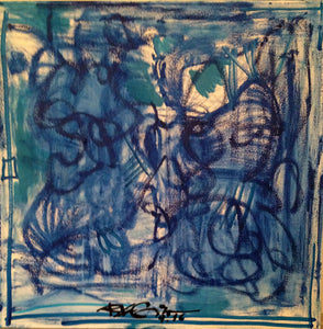 "blue original abstract painting on canvas 23""x24"""