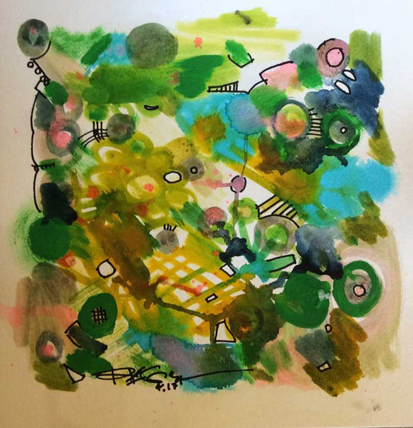 ORIGINAL Garden without ducks, contemporary painting on paper