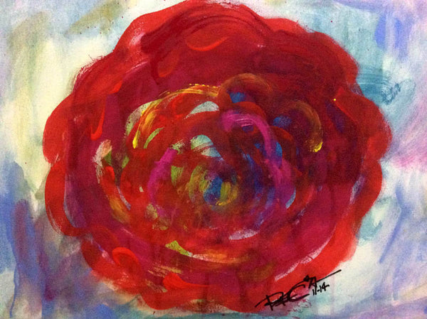 ORIGINAL PAINTING FLAT RED FLOWER CONTEMPORARY ABSTRACT MODERN DECOR - REGIAART