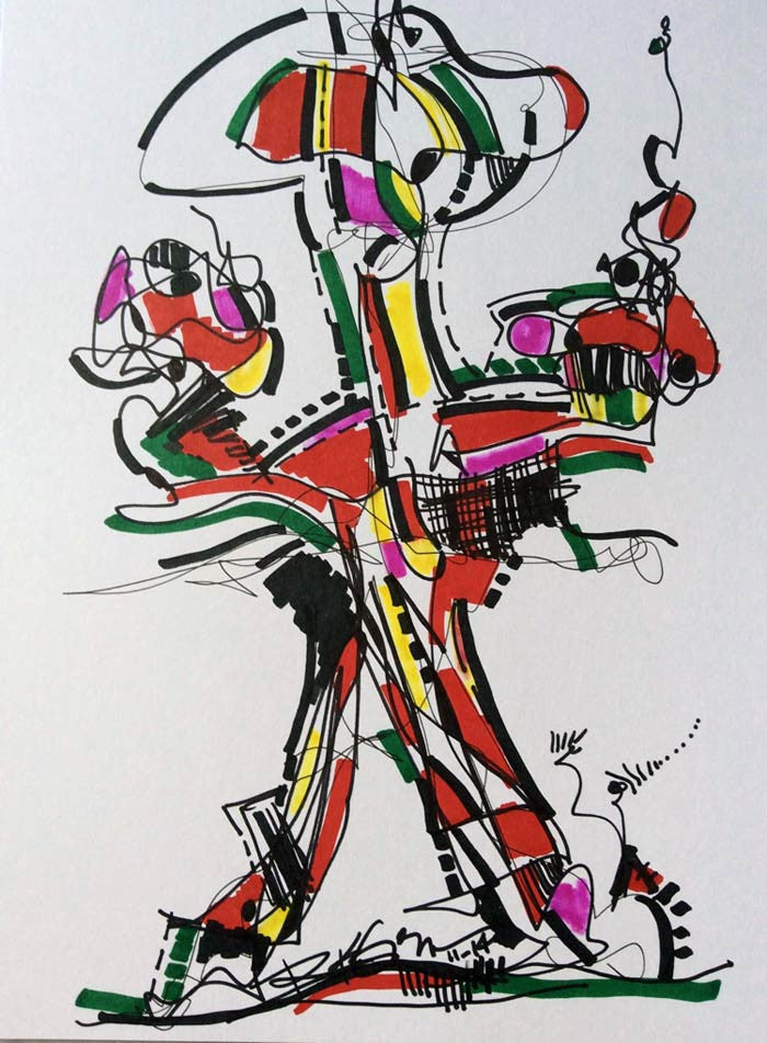 Art Original Abstract Colorful - Totem Man - Ink Drawing Modern Decor