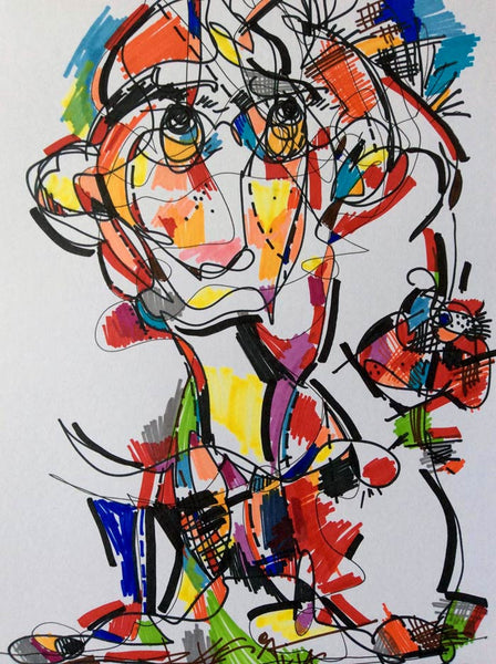 Original Drawing Random Abstract Colorful Black White RegiaArt A4